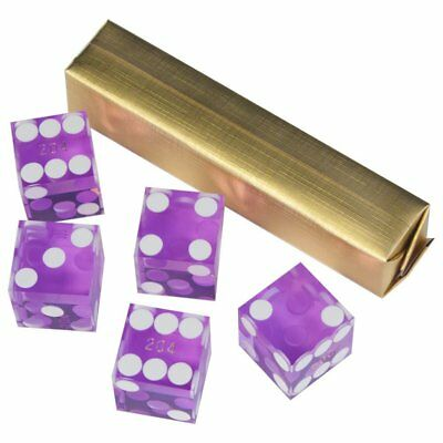 19mm AAA Grade Casino Craps Dice with Matching Serial Numbers (Set of 5, Purple)