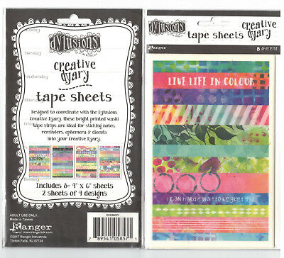 Dylusions Creative Dyary Tape Sheets - Washi - 8 Sheets