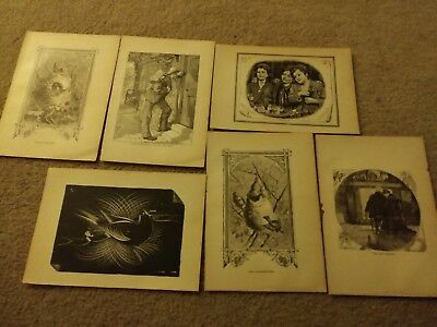 Antique Group Lot of 16 late 19th century black & white prints 1800s