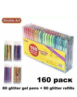 Glitter Gel Pens 160 Count Set Multi Color Pack With Refills Brand New