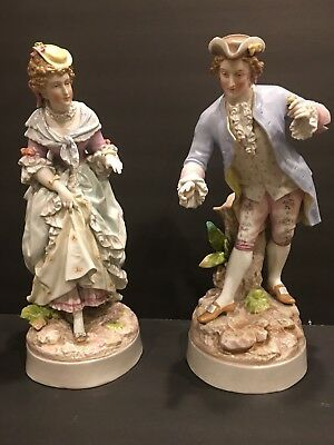 """Pair Of Large 15 1/2"""" tall, Antique German Figurines"""