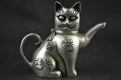 Collectible Chinese Silver Copper Handmade Lovely Cat Teapot