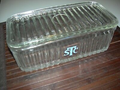 Vintage STC Rectangular Glass Fridge Storage Container with lid - 22 cm x 11 cm