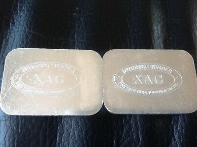 2oz (2 x 1oz) XAG silver bar bullion .999 Intrinsic Tender