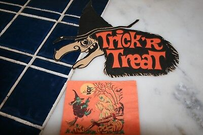 Vintage Halloween Die Cut Trick or Treat Witch and Napkin