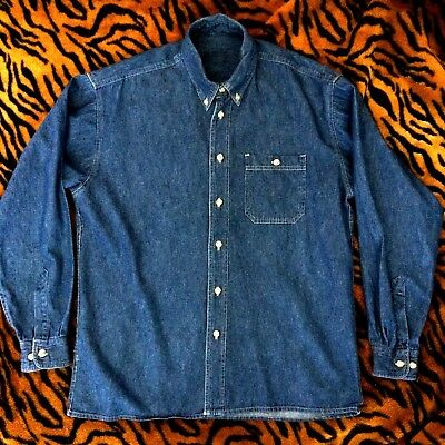 Men's Vintage Cotton Chambray Denim L/S Shirt - size Large!