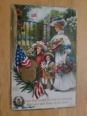 Patriotic Pretty Memorial Day Vintage Postcard Red White And Blue 1909