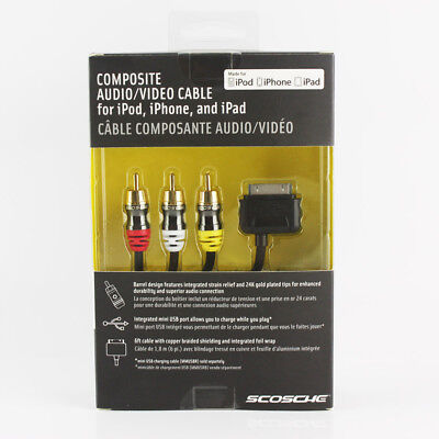 Scosche IPAV Composite Audio/Video Cable for iPad iPhone and iPod Model#1411239