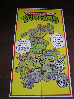 teenage mutant ninja turtles puzzle cards tazo picker card  motorcycle fight