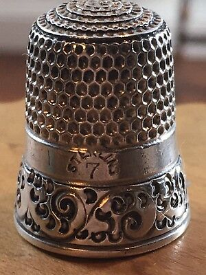 Antique Sterling Silver Thimble Scrolled Band Size 7 Marked