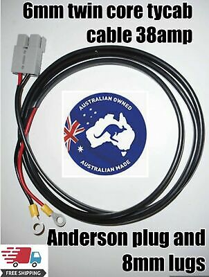 1 meter twin 6mm auto Cable with Anderson style Plug 50 Amp with 8mm lugs
