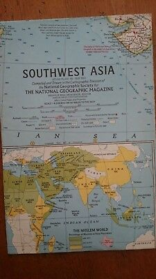 Vintage National Geographic 1963 Map of SouthWest Asia