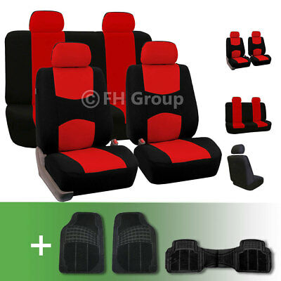 Lowback Flat Cloth Auto Seat Covers w. Floor Mats Red