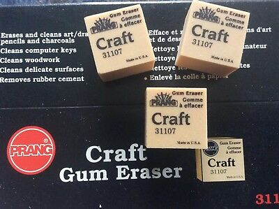 Three Craft Gum Art Eraser rubber removes pencil from books and papers etc