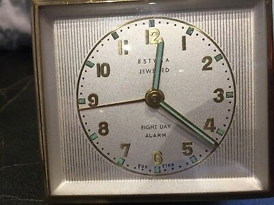 Vintage ESTYMA Jewelled Eight Day Travel Alarm Clock In A Leather Case