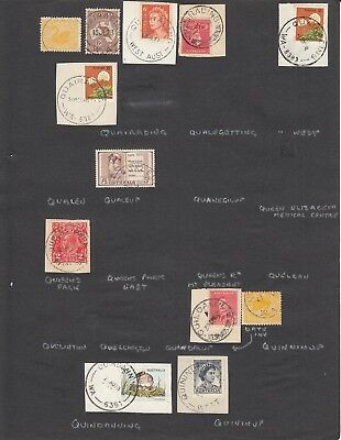 Western Australia page of  postmarks Q