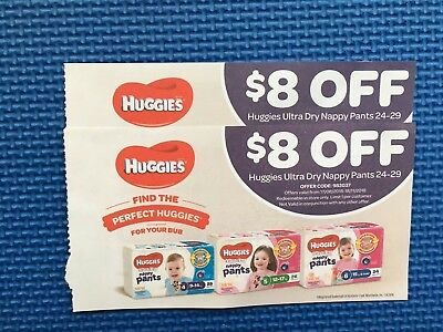 2 Chemist Warehouse $8 Off Vouchers For Huggies Ultra Dry Nappy Pants