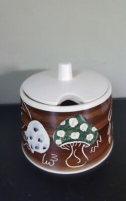 Vintage Retro Jersey Pottery CI Ceramic Jam or Chutney Pot with Lid