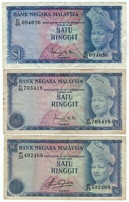 3x 1967 - 1984 Malaysia $1 Ringgit - 3 Different Series - Scarce Set