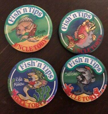 Uncle Toby's Fish'n Tips - 4 ' Singers' Badges-Kylie Minnow, Sid Fishes,Greedy G