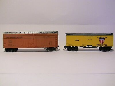 N Scale - 2 reefers - PFE and AMERICAN TRANSIT both with MTL bogies