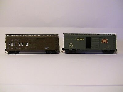 N Scale - 2 40' boxcars - 1 x FRISCO oldtime outside braced and ROCK ISLAND
