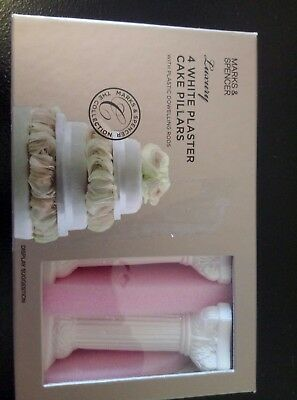 Marks And Spencer Boxed 4 X Plaster  Wedding Cake Pillars & Dowls  Unused