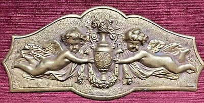 Antique French Gilded Bronze Furniture Decoration With Cherubs