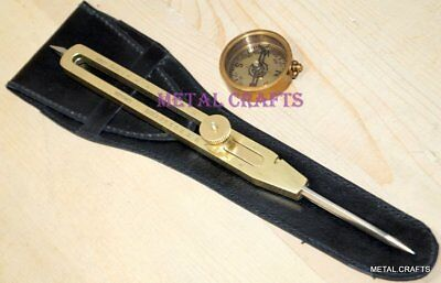 """Brass Divider Engineer Drafting Tools 12"""" Proportional Steel Point Compass Case"""