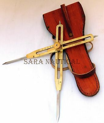 """12"""" Solid Brass Steel Point Proportional Divider Drafting Tool With Leather Case"""