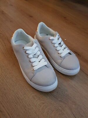 Gray Taupe and Metallic Gold Van Style Trainers - Size 5 - New Look - Worn Once