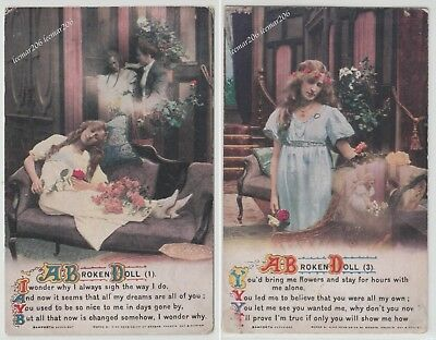 2 X VINTAGE BAMFORTH & CO POST CARDS SONGS 'A BROKEN DOLL' No 1 + 3
