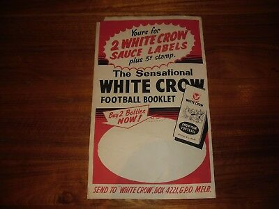 Vintage White Crow Sauce Football Booklet Rare Milk Bar Promo Sign VFL Footy Pie