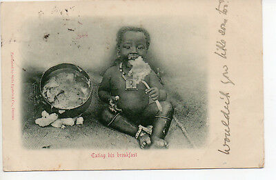 NO RESERVE Zulu Baby Child 'Eating his Breakfast' Postcard South Africa