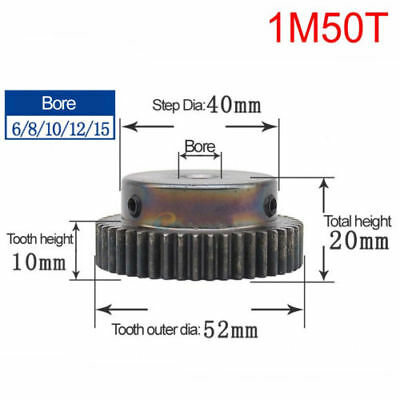 Spur Pinion Gear 1 Mod 50T 45# Steel Motor Gear Bore with Step 6/8/10/12/15mm