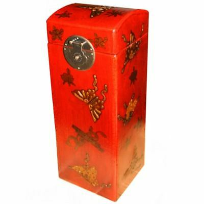 Asian Wine Box -   Red Embossed Butterfly Painted Box New (WB-1R-BF)