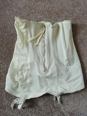 Vintage 1960s ladies zip up white corset hip size 35-38 inch with 4 suspenders
