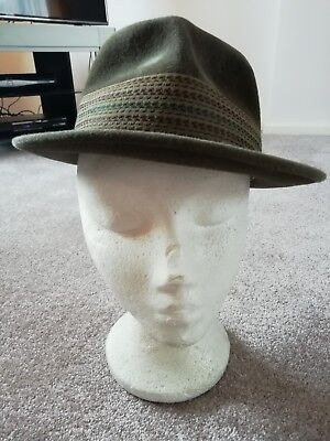 Vintage mens 1950s trilby felt hat by Dunn & Co London 20 inch circumference