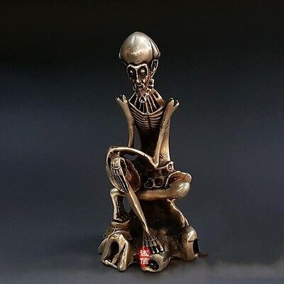 Chinese Silver Skeleton Arhat Dharma Damo Buddha God Statue Antique Collection
