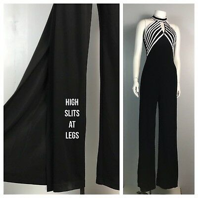 Vintage NOS 1980s 1990s Ribkoff Black and White Stripe Sleeveless Jumpsuit XS