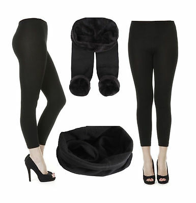 Ladies Women Girls Fleece Legging Black Thermal Winter Comfort Quality 8-24 Uk