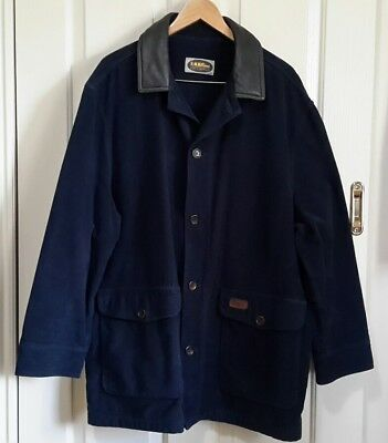 R. M. WILLIAMS Suit XXL Dark Blue Moleskin & Brown Leather Button Up Lined COAT