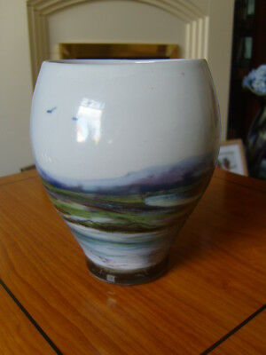 "Stunning ""highland Stoneware Studio Pottery Vase.scottish Scenery"