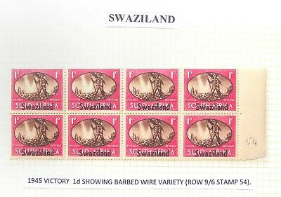 "SWAZILAND 1945 Victory ""Barbed Wire"" Variety As Described U/M CG225"