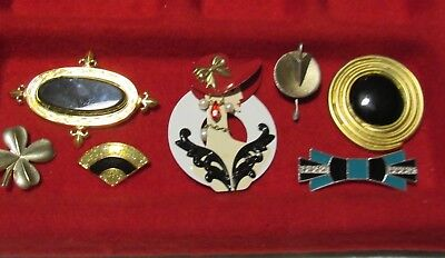 Vintage Lot 7 Brooch Pins Colors Gold/Black/Silver/Turquoise Monet & More
