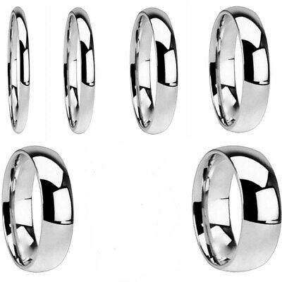 2/3/4/6/8mm Silver Band Men Women's 316L Stainless Steel Engagement Ring Sz 5-13