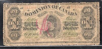 ➡➡ RARE DC-8f-i Dominion of Canada 1878 $1 Countess Payable at Toronto Series A