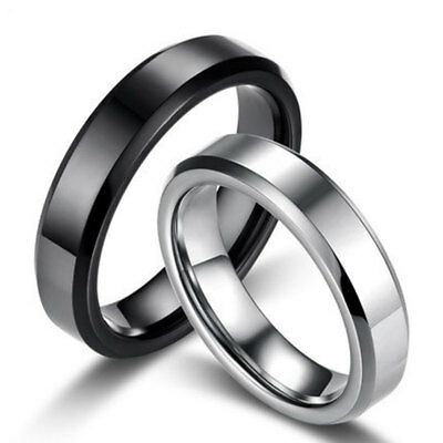 f49b27f1c540 4mm Silver Black Thin Band Rings Men Women s Titanium Steel Engagement Ring  Gift