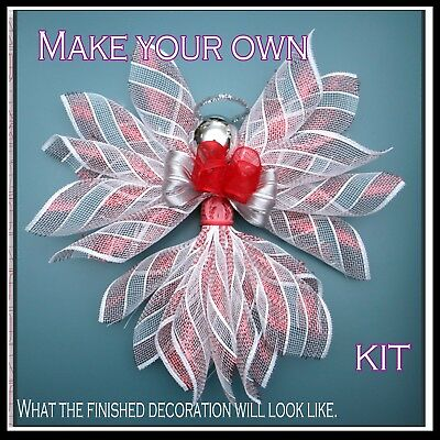 Deco Mesh Kit - Make your own decoration - Red, Blue/Silver or Gold - UK.