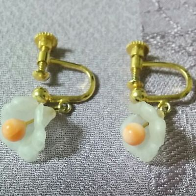 9adc3011ddc Antique earrings Coral vintage cute Japan retro popular rare beautiful EMS  F/S!